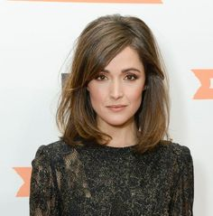 Rose Byrne's side swept shoulder length bob in warm brown. December 2012