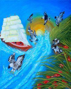 Nine Eagles For Success by Oksana Semenchenko Acrylic ~ 20 in. x 16 in.