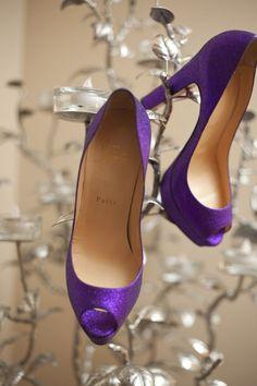 Glitter purple Christian Louboutin peep-toes!