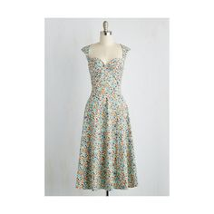Bettie Page Pinup Long Sleeveless A-line Prove Your Groove Dress (8.100 RUB) ❤ liked on Polyvore featuring dresses, apparel, fashion dress, multi, long a line dress, mid calf dresses, floral dress, pinup dress and a line dress