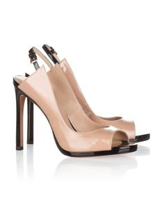High heel peep toes in nude and black patent leather