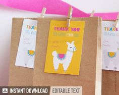 Llama Party Printables to decorate a birthday party, baby shower or themed celebration! Kid Party Favors, Party Favor Bags, Birthday Favors, Birthday Party Decorations, Birthday Parties, Goodie Bags, Thank You Party, Thank You Tags, Party Kit