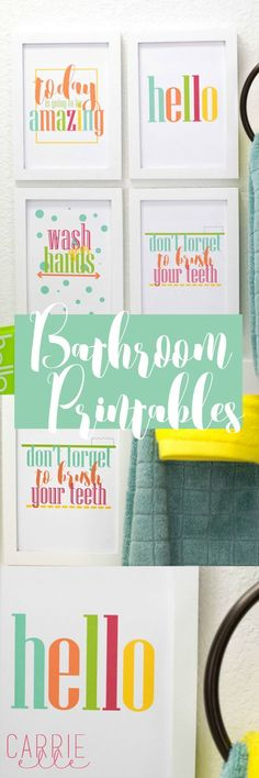 Brighten up your bathroom with these cheerful and happy bathroom printables. - Brighten up your bathroom with these cheerful and happy bathroom printables. College Bathroom, Kid Bathroom Decor, Bathroom Colors, Frog Bathroom, Bathroom Small, Kid Bathrooms, Restroom Decoration, Colorful Bathroom, Baby Bathroom