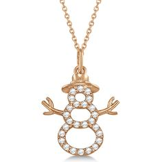 Allurez Snowman Diamond Necklace Pendant 14k Rose Gold (0.13ct) ($510) ❤ liked on Polyvore featuring jewelry, necklaces, rose, rose gold pendant, rose quartz pendant, diamond pendant, pink pendant and diamond necklaces