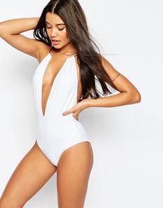 f1f42ca68cb3c ASOS Gold Necklace Trim Plunge Swimsuit $46.00 White Swimsuit, Plunging One  Piece Swimsuit, Swimming