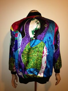 Vintage 1990s rare COLORFUL ABSTRACT PICASSO baroque  print satin bomber jacket