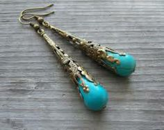 Antiqued brass tibetan earrings - Google Search