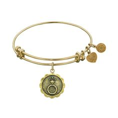 Antique Stipple Finish Brass Engaged Angelica Bangle, 7.25 Inches Adjustable