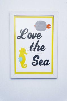 Quadrinho personalizado Love the Sea. Quarto Fundo do mar Tree House Baby & Kids