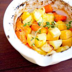 """""""Roots & Vegetables"""" – Honey Roasted Root Vegetables, from my Fairtrade cookbook, """"Reilun kaupan ruokaa ja elämää"""" (Perhemediat, 2009; photo: Sininen Kuva) ⎮ recyclie.blogspot.fi"""