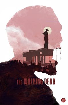 In this image the message is received as the main character 'Rick' is standing on the rooftop away from the 'Walkers' with a gun in his hand ready to fire and in The Walking Dead it is about survival and fighting the walkers. The text is bold which makes it stand out.
