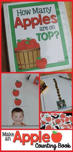 Make an apple counting book for your home or classroom.  Books are always more exciting when kids see familiar faces on the pages.  This is a great math and literacy activity and will be the perfect activity to create after reading Ten Apples on Top by Dr. Seuss.  Perfect for preschool, pre-k, tot school, kindergarten, and early childhood education classrooms.