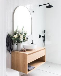 Modern Bathroom Decor Ideas Match With Your Home Design Bad Inspiration, Bathroom Inspiration, Bathroom Ideas, Bathroom Vanities, Mirror Bathroom, Mirrors For Bathrooms, Master Bathroom, Bathroom Lighting, Bathroom Tapware