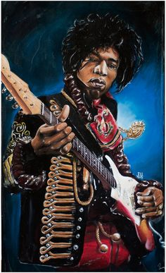 JEREMY WORST Jimi Hendrix Rocks Original Artwork Signed Print