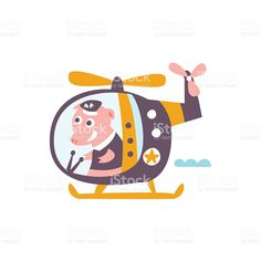 Pig Driving A Helicopter Stylized Fantastic Illustration royalty-free stock vector art