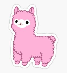 Pink Alpaca Sticker Kawaii