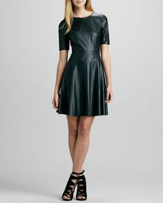 Faux-Leather A-Line Dress at CUSP.