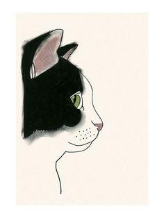 Gato de impresión blanco y negro de gato arte por matouenpeluche