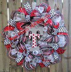 Texas Tech Red Raiders Wreath by JustSimplyaDoorable on Etsy, $60.00