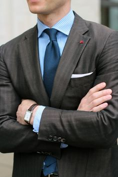 Nicholas Ragosta of ISAIA blue shirt striped
