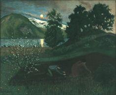 Nikolai Astrup - Vårnatt i hagen, 1909