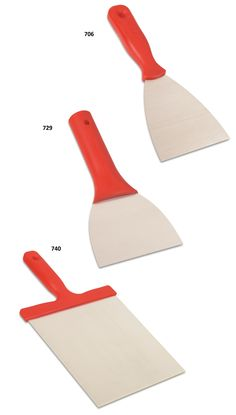 700 - Putty Spatula  It is manufactured from spring steel It is used for any kind of paste and plaster  729 - Scraper Spatula It is manufactured from spring steel. Plastic handle is designed with hollow for pole mounting.  It is used in all kinds of scraping and plastering applications.  740 - Putty trowel It is manufactured from spring steel. It is used for any kind of paste and plaster.