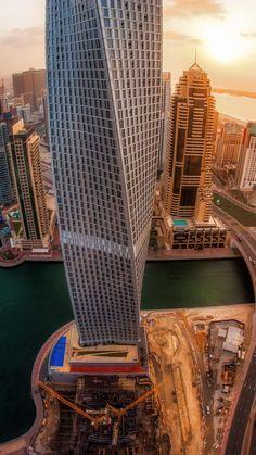 united arab emirates, skyscrapers, top view, sunrise, city, dubai
