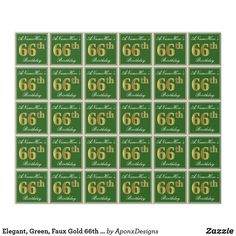 Elegant, Green, Faux Gold Birthday + Name Wrapping Paper 85th Birthday, Birthday Name, Wrapping Paper Design, Custom Wrapping Paper, 60th Birthday Party Invitations, Birthday Greeting Cards, Wraps, Elegant, Green