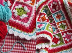 Crochet granny squares in lovely bright colors.