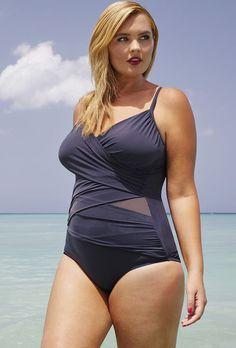 Tropiculture Squalo Mesh Inset Swimsuit