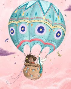She has friends in high up places  #colour_collective #balloon #hotairballoon #illustration #girl #bird #sky #pink #blue #flying #cuts #painting