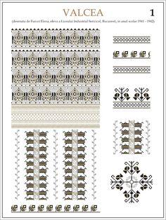 Semne Cusute: ie din VALCEA (1)  Modele de ii Romanesti din caietul elevei Furcoi Elena, de la Liceul Industrial Sericicol Bucuresti, care a desenat aceste planse in clasa a VIII-a, anul scolar 1941 - 1942 Embroidery Stitches, Embroidery Patterns, Cross Stitch Patterns, Hama Beads, Beading Patterns, Pixel Art, Decoupage, Projects To Try, Traditional