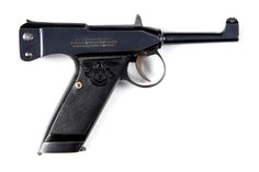 """This is an M1906 Adler pistol, serial number 1202, in 7.25mm caliber. The fixed rear sight also acts as the charging handle for the top-mounted jeweled bolt. The only markings on the left side of the pistol are the """"F"""" and """"S"""" safety detents. On the right side of the receiver is the 3-line legend PATENT HAEUSSLER / ADLERWAFFENWERKE / ENGELBRECHT & WOLFF."""