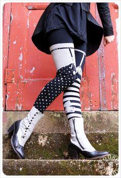 GREY Pippi Leggings  - Black Grey Striped GARTER Legging - Polka Dot Striped Tights - SMALL Legwear Womens Tights