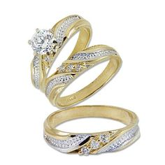 14k yellow gold trio three piece wedding ring set with lab created gems - 14k Gold Wedding Ring Sets