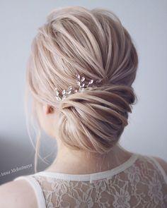 Simple beautiful bridal updo ,chignon ,wedding updo hairstyles, wedding hairstyle ideas #weddingupdo #updo #hairstyle #weddinghairstyle #weddinghairstyles