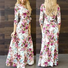 Awesome Women's 3/4 Sleeve V-Neck Wrap Boho Floral Print Party Beach Long Maxi Dress L 2017-2018 Check more at http://dressesshop.top/product/womens-34-sleeve-v-neck-wrap-boho-floral-print-party-beach-long-maxi-dress-l-2017-2018/