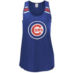 Chicago Cubs Royal Logo Tri-Blend Tank Top Relaxed Scoop Neck Racer Back $29.95  @Chicago Cubs