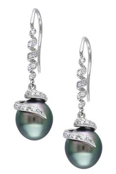 14K White Gold 9-9.5mm Black Tahitian Pearl & Diamond Swirl Drop Earrings by Luxurious Luster