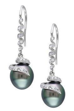 14K White Gold 9-9.5mm Black Tahitian Pearl & Diamond Swirl Drop Earrings by Luxurious Luster: Tahitian Pearls on @HauteLook