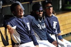 Detroit Tigers Miguel Cabrera, Prince Fielder and Quentin Berry. Best ones there baby!<3:)