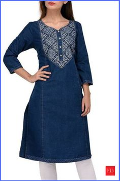 8 Different Types Of Denim Kurti Designs With Best Price #WomenFashion #WomenWear #Kurtis #DenimDress