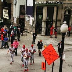 Stl Cardinal rookies making coffee run (in Chicago) for their teammates. #hazing #welcometothebigleaguesboyz #alpha