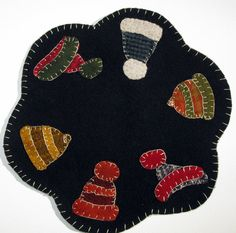 Winter Hats Wool Candle Mat or Penny Rug
