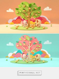 Agogo New Year 2018 GFX package on Behance by Kelly KTKL and Tan Yi Ling www.behance.net/ktkl... - a grouped images picture - Pin Them All Cartoon Trees, Cartoon People, 3d Design, Game Design, 3d Character, Character Design, 3d Artwork, Environment Concept Art, Environmental Art
