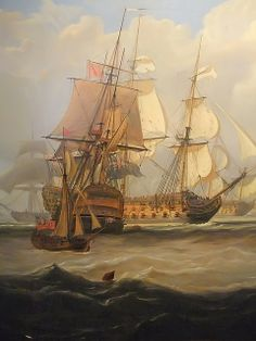 Detail of Lord Anson's arrival at Spithead with Prizes After May 3 1747 Cape Finisterre Action by John Christian Schetky 1778-1875
