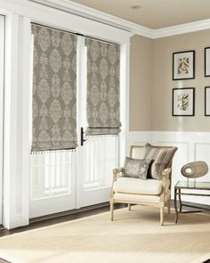 Flat Roman Fabric Shades  Color:Grandios/ Platinum 13941