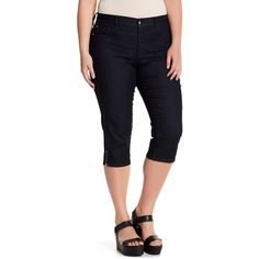 NYDJ Ariel Stretch Capri Jean (Plus Size) (56 CAD) ❤ liked on Polyvore featuring plus size women's fashion, plus size clothing, plus size jeans, dk enzyme, plus size, blue jeans, plus size capri jeans, stretchy jeans, plus size stretch capris and stretch jeans
