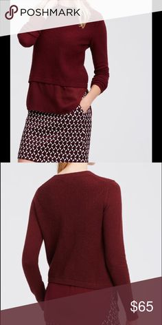 DOUBLE LAYERED SWEATER Luxe Cashmere-Kissed Knit meets a woven shirttail hem for an effortlessly layered look. Crew neck. Long Sleeves. Ribbed neckline, cuffs and hems. Woven shirttail hem. Ann Taylor Sweaters Crew & Scoop Necks