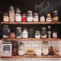 Glass Jar Storage, Wood Shelves, Black Chalkpaint & White Subway Tiles